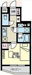 西蒲田YKマンション 4階1Kの間取り