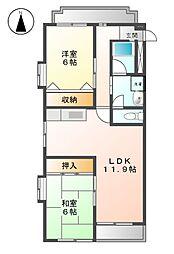 愛知県名古屋市北区清水3丁目の賃貸マンションの間取り