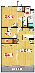 ランドロードU B棟[2階]の間取り