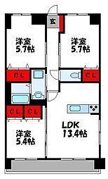 ユーミー桂川III[4階]の間取り