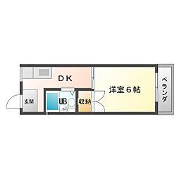 大阪府大阪市平野区長吉川辺2丁目の賃貸マンションの間取り