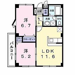 長野県千曲市大字粟佐の賃貸アパートの間取り