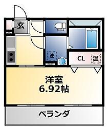 プリエール高井田 5階1Kの間取り