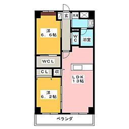 静岡県焼津市五ケ堀之内の賃貸マンションの間取り