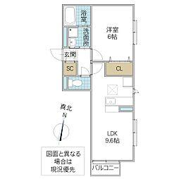 (仮)D-roomよしわら B 1階1LDKの間取り