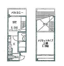 オープンドア福島 5階1LDKの間取り