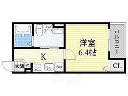 近鉄南大阪線 矢田駅 徒歩12分の賃貸アパート 3階1Kの間取り