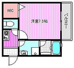 近鉄橿原線 田原本駅 徒歩5分の賃貸アパート 3階1Kの間取り