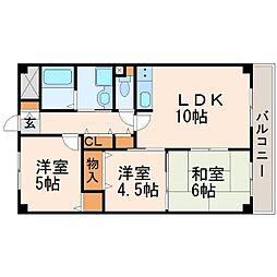 兵庫県尼崎市武庫町3丁目の賃貸マンションの間取り