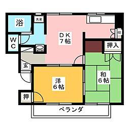 クリスピー下中野[1階]の間取り