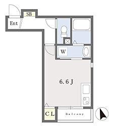 仮)箱崎四丁目新築アパート 1階ワンルームの間取り