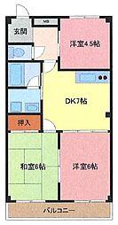 埼玉県さいたま市南区白幡1丁目の賃貸マンションの間取り