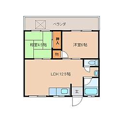 奈良県奈良市三条桧町の賃貸マンションの間取り