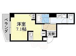 京阪本線 森小路駅 徒歩1分の賃貸マンション 5階ワンルームの間取り