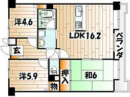 ダイアパレス八幡中央[12階]の間取り