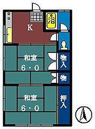 薬円台ハイツ[203号室]の間取り
