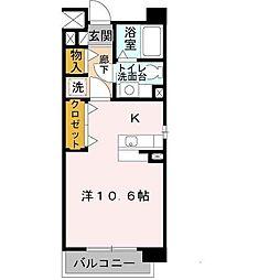 エスタシオン高石 1階1Kの間取り