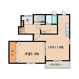 近鉄大阪線 耳成駅 徒歩11分の賃貸アパート 1階1LDKの間取り