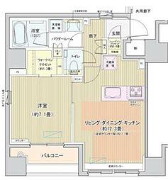 都営大江戸線 築地市場駅 徒歩4分の賃貸マンション 5階1LDKの間取り
