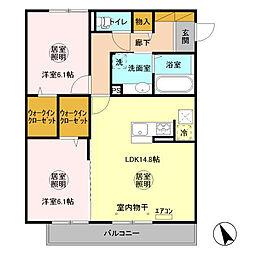 D-room大野原中央 A[1階]の間取り