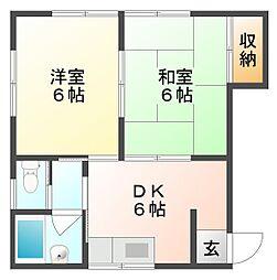 岡山県岡山市南区内尾の賃貸アパートの間取り