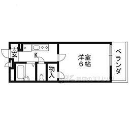 JR東海道・山陽本線 大津駅 徒歩10分の賃貸アパート 2階1Kの間取り