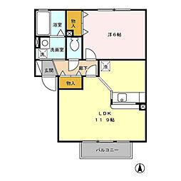 グリーンカースルA[2階]の間取り