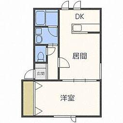 ランドマーク平岸A棟[1階]の間取り