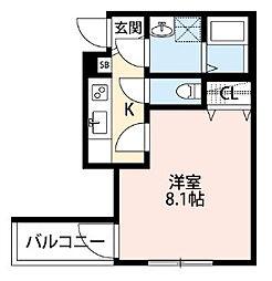 メゾングレース新松戸[203号室]の間取り