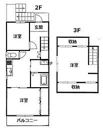 南武庫之荘アパート[2F号室]の間取り