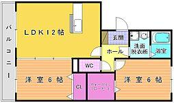 福岡県北九州市小倉北区真鶴1丁目の賃貸アパートの間取り
