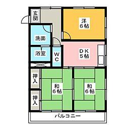 レアールマンションアキタII[1階]の間取り