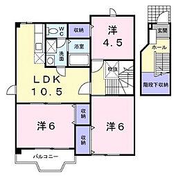 広島県福山市山手町5の賃貸アパートの間取り