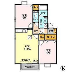 千葉県千葉市花見川区作新台5丁目の賃貸アパートの間取り