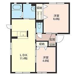 ラフォーレ福居11A[1階]の間取り