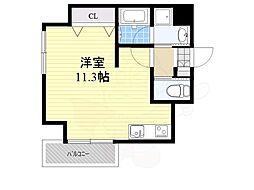 西鉄天神大牟田線 西鉄平尾駅 徒歩8分の賃貸マンション 2階ワンルームの間取り