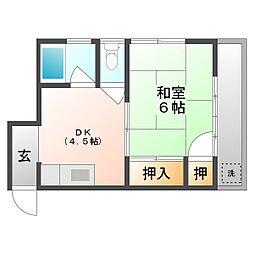 岡山県岡山市南区福成2丁目の賃貸アパートの間取り
