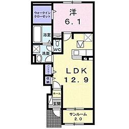 アミティエI 1階1LDKの間取り
