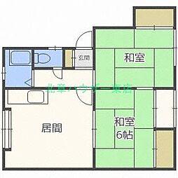 北海道札幌市東区北二十二条東6丁目の賃貸アパートの間取り