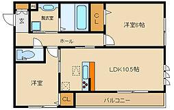 大阪府羽曳野市誉田5丁目の賃貸マンションの間取り