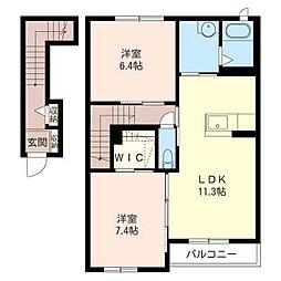 アンソレイユB[2階]の間取り