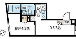 東京メトロ副都心線 西早稲田駅 徒歩2分の賃貸マンション 1階ワンルームの間取り