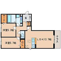 JR東海道本線 静岡駅 バス17分 宮竹2丁目下車 徒歩2分の賃貸アパート 1階2LDKの間取り