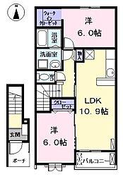 愛知県あま市中萱津法慶寺の賃貸アパートの間取り