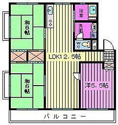第二西形マンション[3階]の間取り