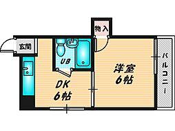 すみれプラザ長堂 8階1DKの間取り