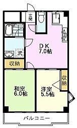 国立クリスタル石川 3階2DKの間取り