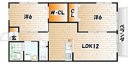 エスポワール若園II[2階]の間取り