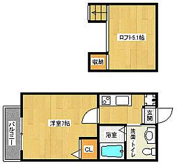 京都府京都市中京区姉大宮町西側の賃貸アパートの間取り