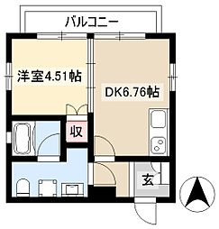 NEST黒川 2階1DKの間取り